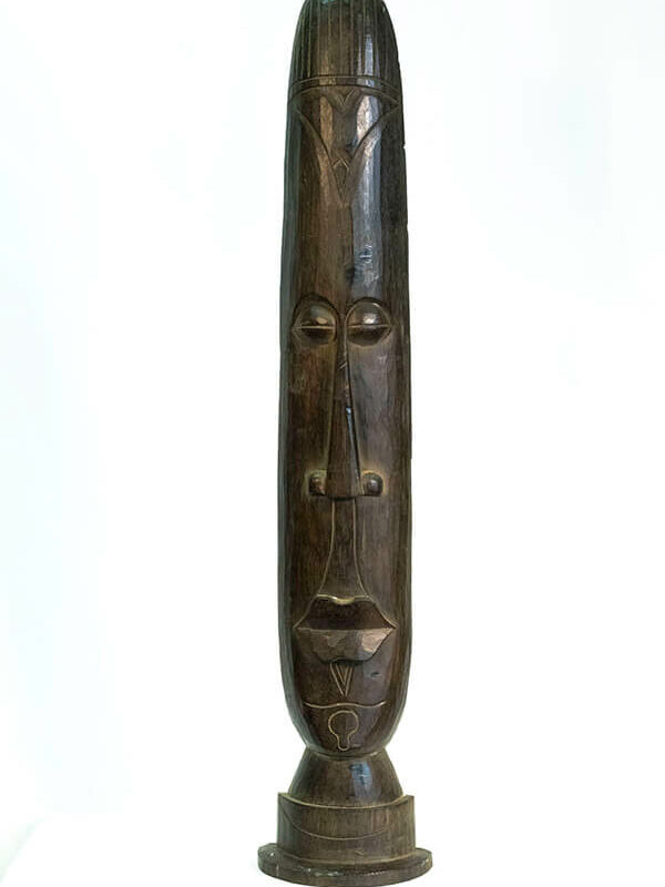 wood carving, african standing mask, front