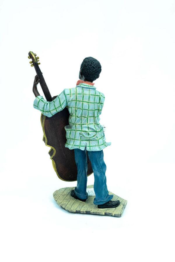 jazzman figurine, playing upright bass, back view