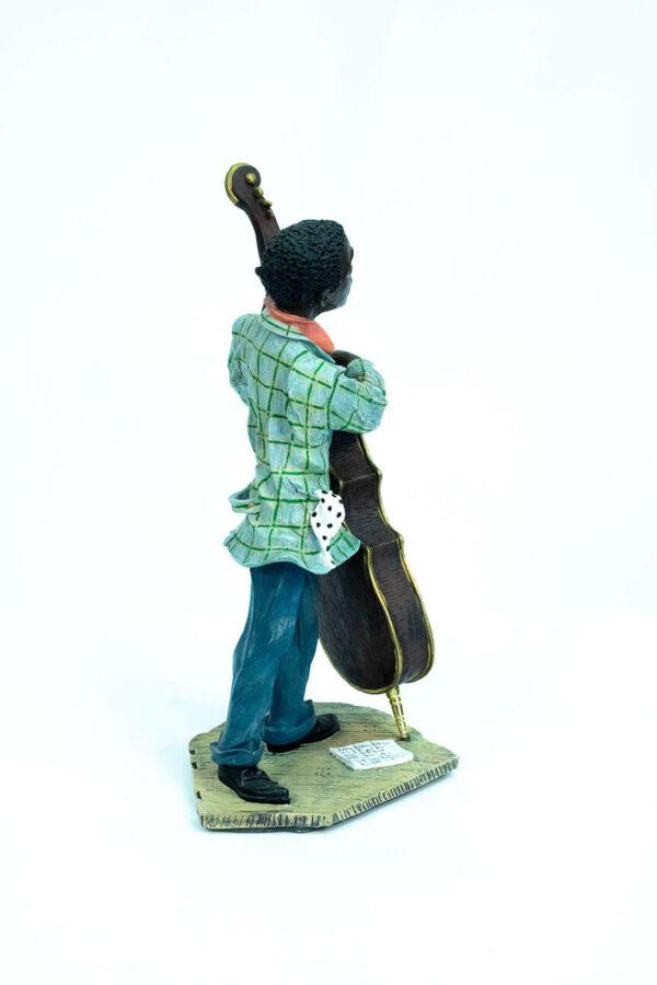 jazzman figurine, playing upright bass, right view
