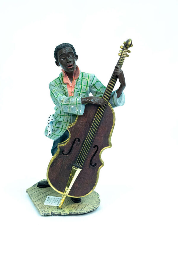 jazzman figurine, playing upright bass, front view