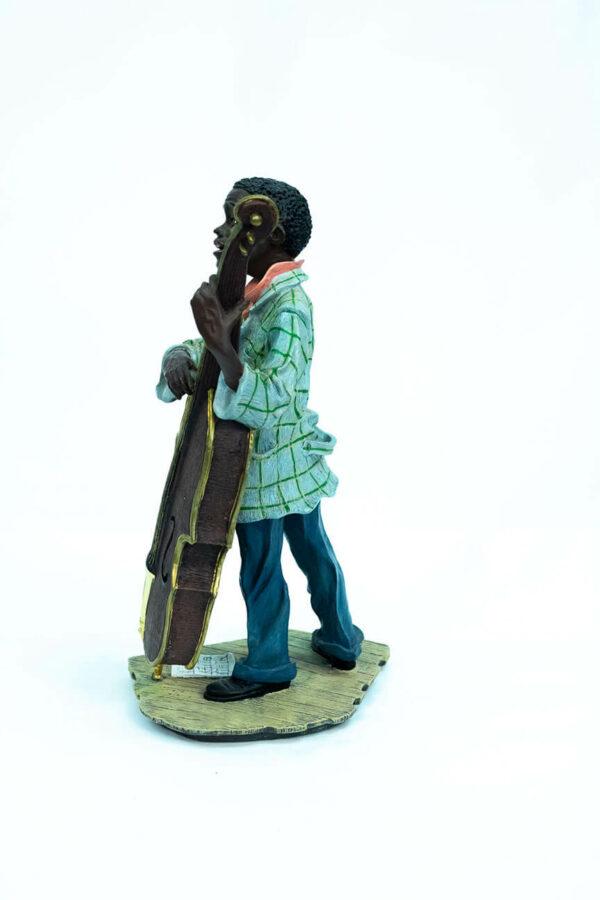 jazzman figurine, playing upright bass, left view