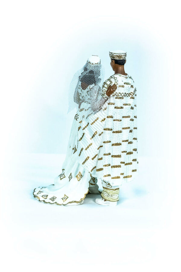 wedding couple figurine, in royal gold african attire, back