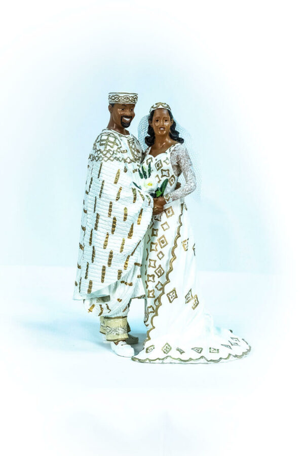 wedding couple figurine, in royal gold african attire, front
