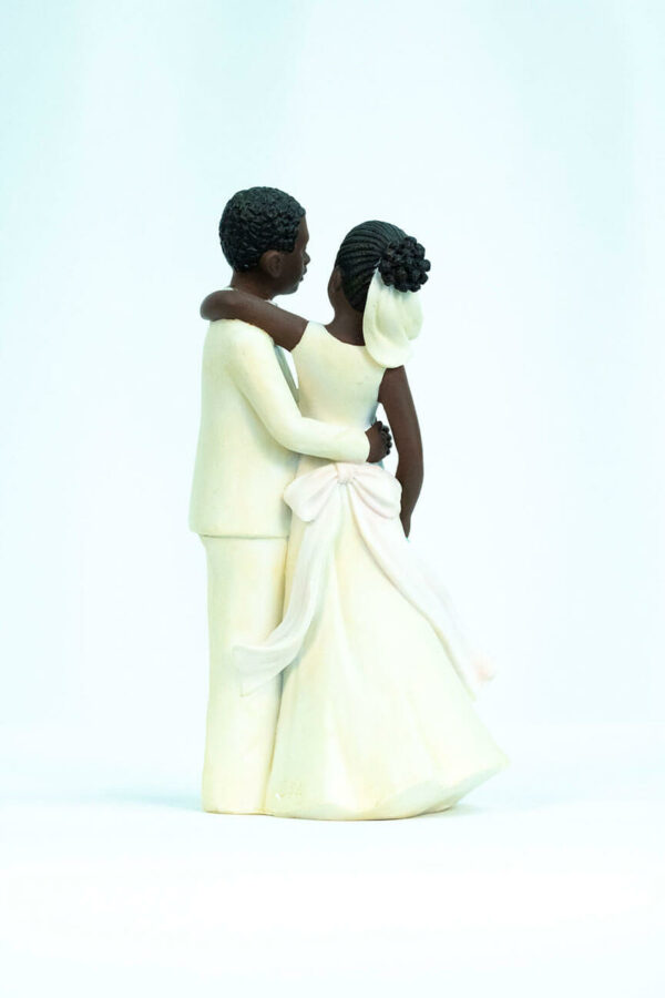 wedding couple figurine, dancing bride and groom in white, back