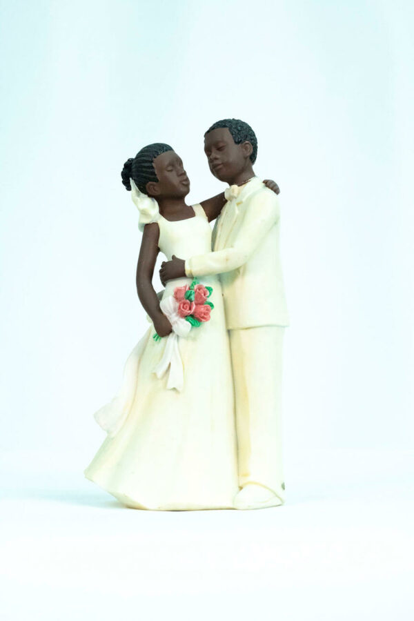 wedding couple figurine, dancing bride and groom in white, front