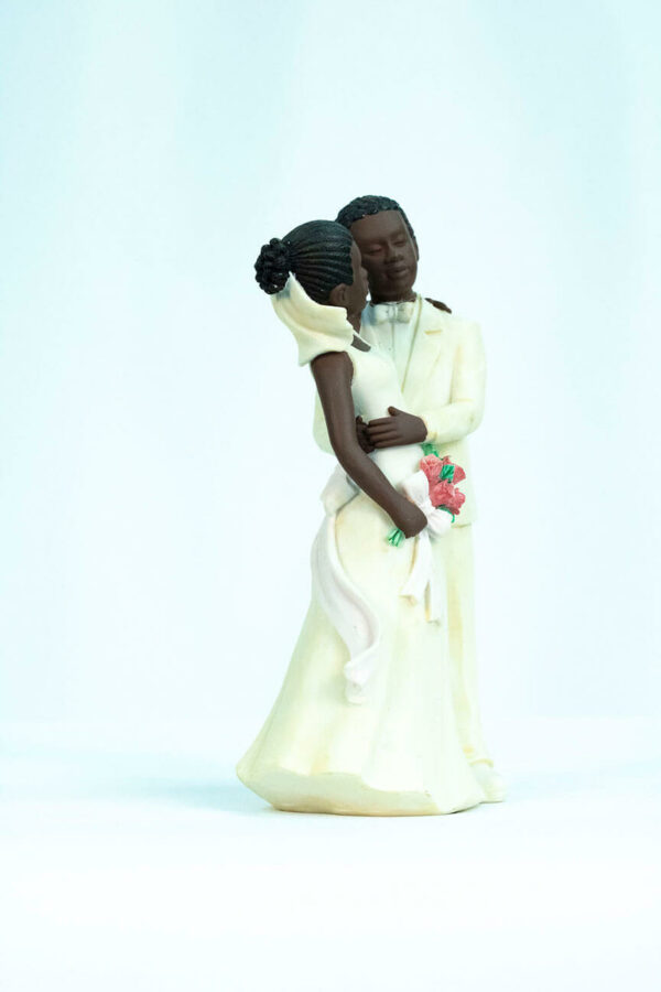 wedding couple figurine, dancing bride and groom in white, right