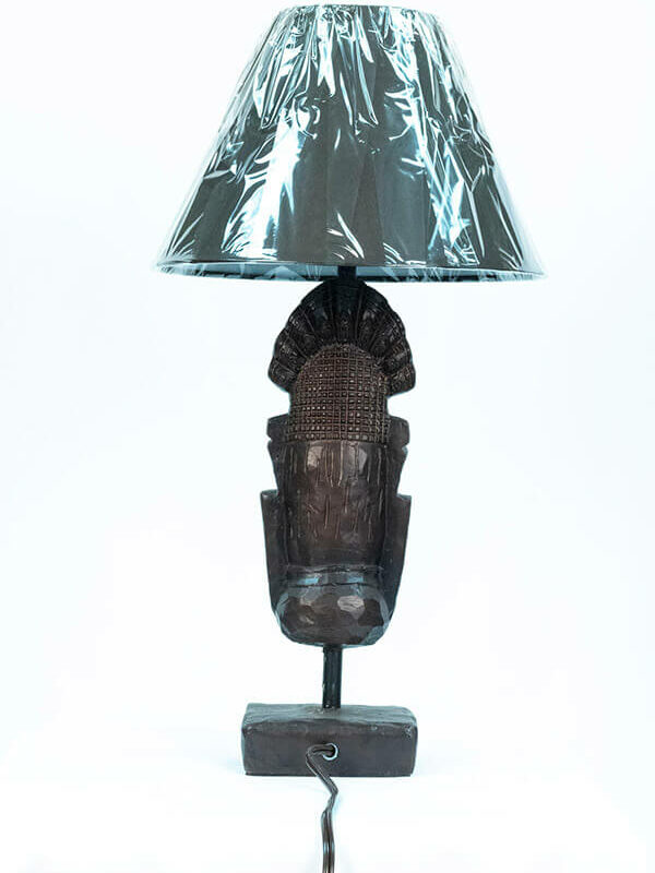 african mask lamp, back view