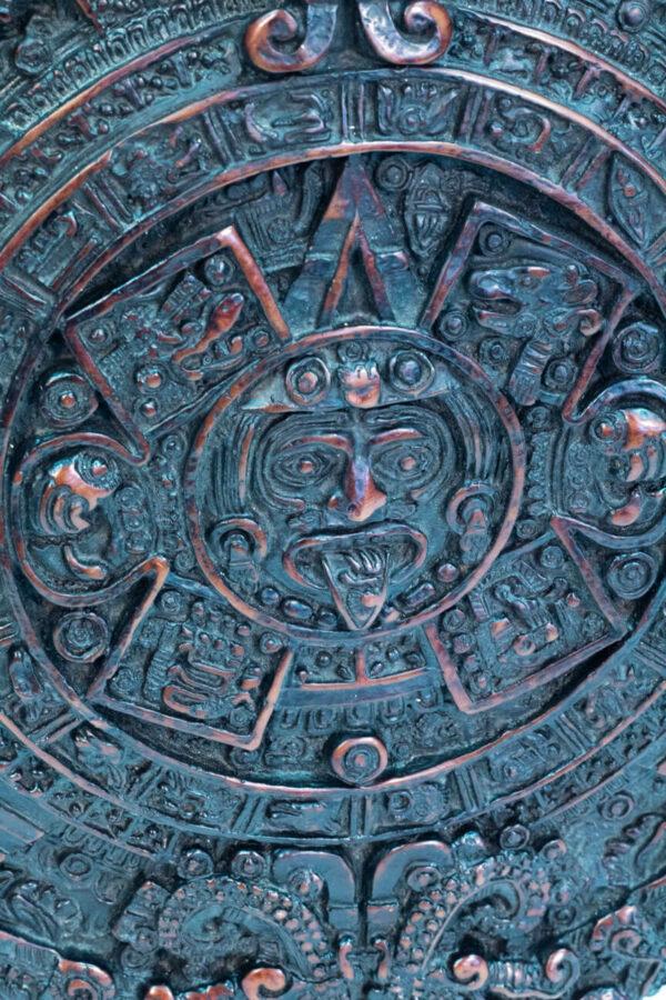 aztec calendar, front closeup