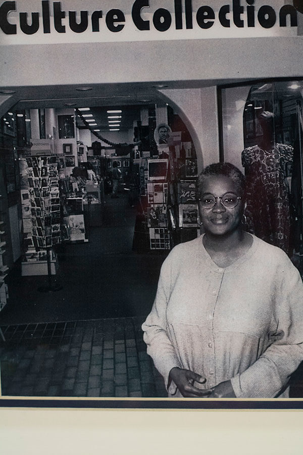 betty davis standing in front of the first culture collection store