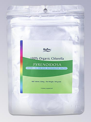 Pure BioPure Chlorella Pyrenoidosa Tablets 400 offered in the form of chewable tablets.