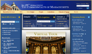 A screenshot of the Mass. Gen. Court's home page (malegislature.gov)