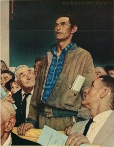 You can talk in the City Council, but not forever to stop an item (Norman Rockwell via wikipedia)