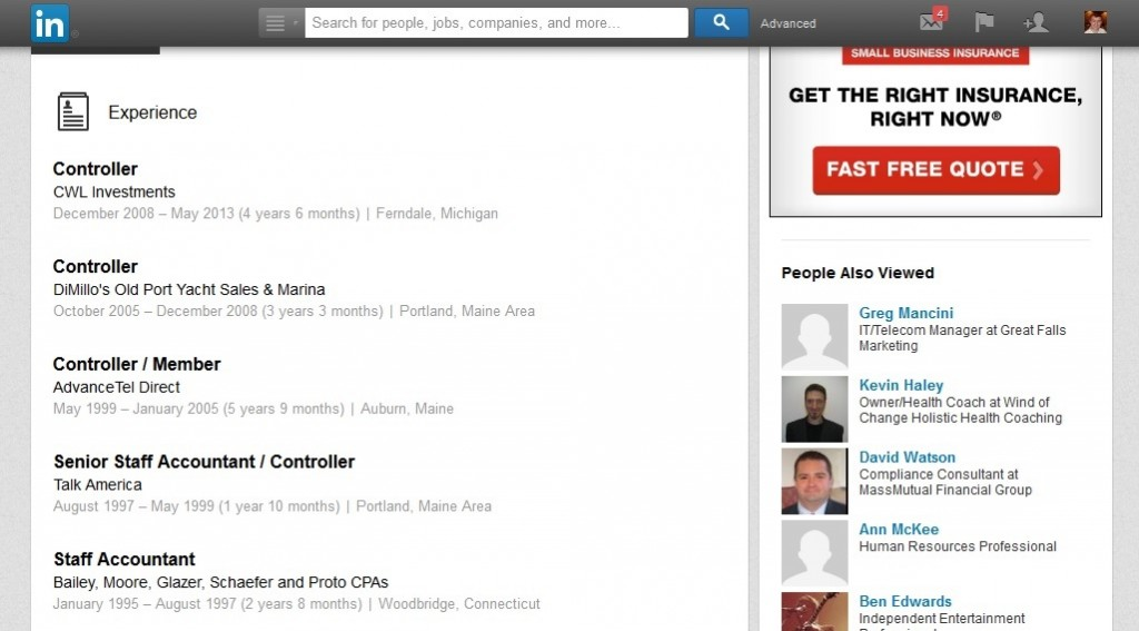 A screenshot of Stanek's LinkedIn page.  The profile itself is unviewable absent a connection to Stanek (via LinkedIn)