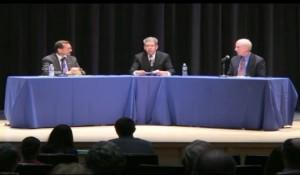 Tautznik, Hershel, & Bartley at Monday's debate (via screen capture from Easthampton Community Access.  Watch the full debate here)