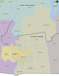The 1st Hampden & Hampshire Senate District in gray. Click for larger view. The area immediately north of Longmeadow is where Lesser & Dukakis canvassed. (via malegislature.gov)