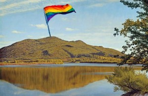 Mt. Tom in Holyoke with LGBT pride flag (created w/ images from wikipedia)