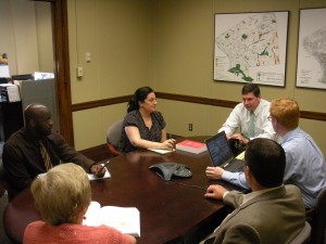 Plante, rear right, & budget staff at a meeting last year. (WMassP&I)