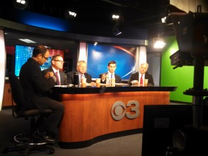 All four candidates with The Republictoan's Rob Rizzu at the CBS/Republican/NEPR debate. (WMassP&I)