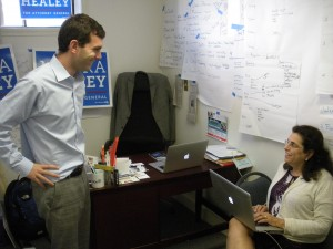 Mike Firestone in the Healey campaign office with a staffer. (WMassP&I)