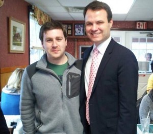 Senator-elect Eric Lesser (right) with Campaign Manager Michael Clark (via Facebook/Lesser campaign)