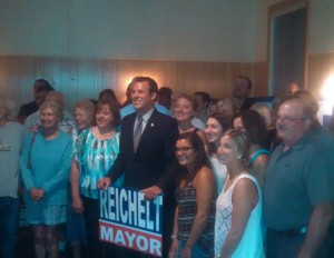 William Reichelt with supporters on preliminary night. (WMassP&I)