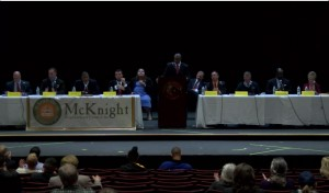 AIC/P.O.W.E.R./McKnight Council Debate at Griswold Theater (via Focus Springfield screen capture)