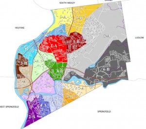 Chicopee's ward and precinct map. The yellow & orange precincts at the bottom between the Springfield border and the Chicopee River are Ward 5 (via MA Sec. of State)