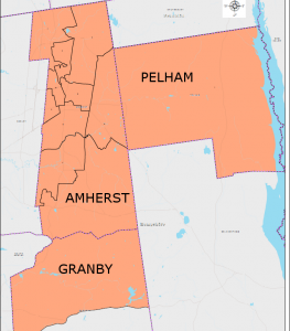 The 3rd Hampshire includes all of Amherst and Pelham and Precinct 1 of Granby. (via mass.gov)