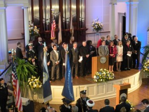 The Inaugural Party on the stage the Old First Church (WMassP&I)