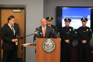 Councilor Ashe at police announcement with Mayor Sarno and Commissioner John Barbieri (via Facebook/Ashe campaign)