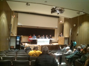 The Candidates at the End of Wednesday's forum (WMassP&I)