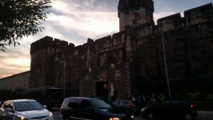 Eastern State Penitentiary from Fairmount Avenue in the eponymous Philadelphia neighborhood. (WMassP&)