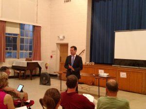 Sen. Eric Lesser before the Forest Park Civic Association (WMassP&I)