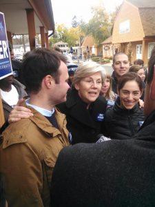 US Sen. Elizabeth Warren with State Sen. Eric Lesser, left, in 2014 (WMassP&I)