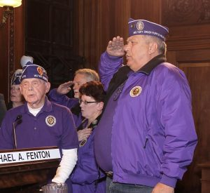 Veterans Leading Council in Pledge of Allegiance (courtesy Council office)