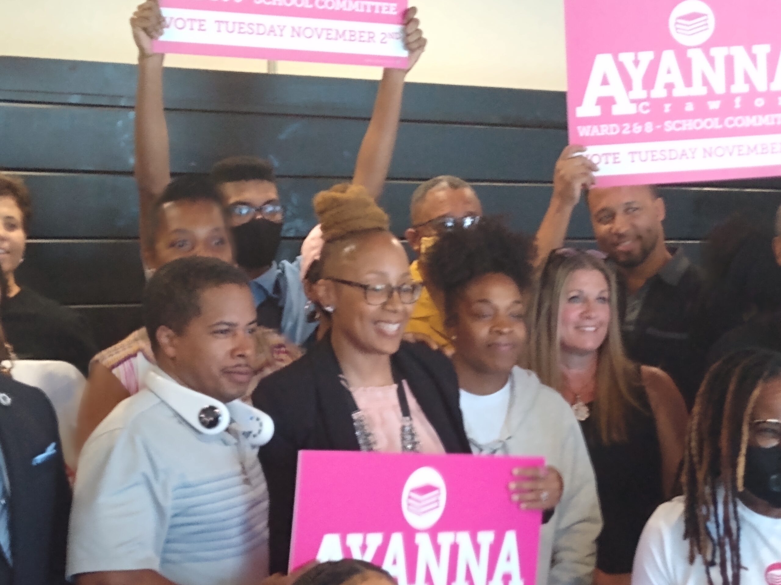 Ayanna Crawford and supporters