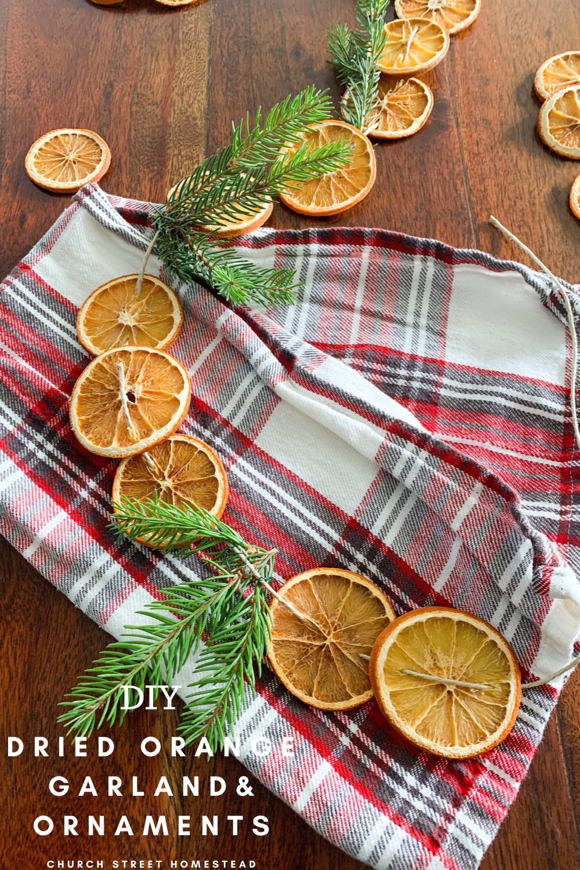 handmade dried orange garland with pine and twine