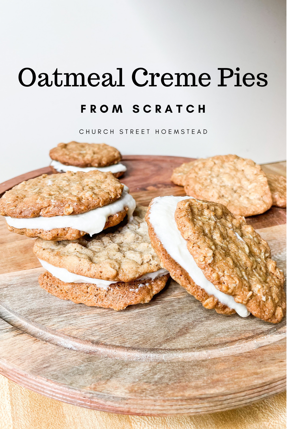 oatmeal creme pies on a stand