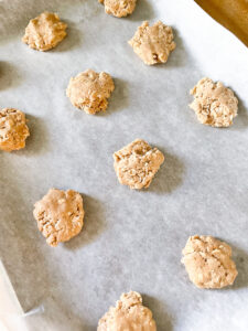 oatmeal cookie dough on parchment paper