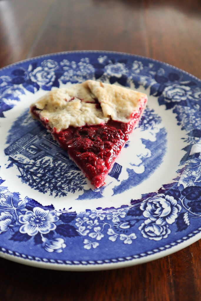 Sourdough Raspberry Galette on antique plate