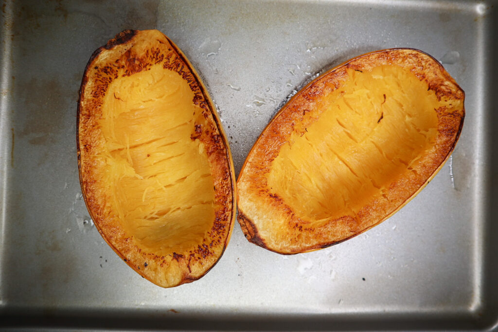 squash cooked on a baking sheet