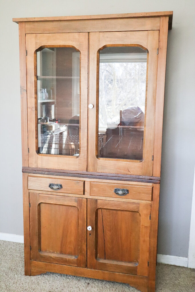Antique hutch in living room