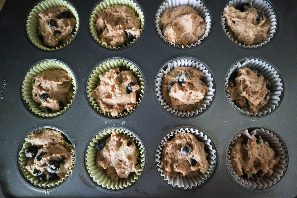batter in a muffin tin