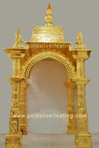 Gold Leafing on Mandir