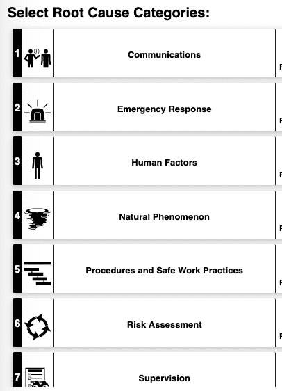 Root Cause Categories