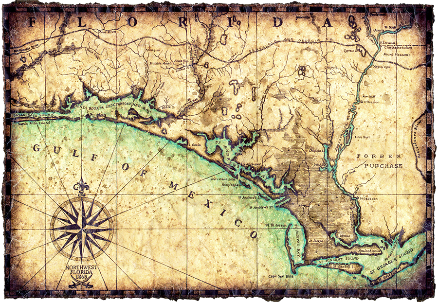 Old-fashioned map of Florida and the Gulf of Mexico