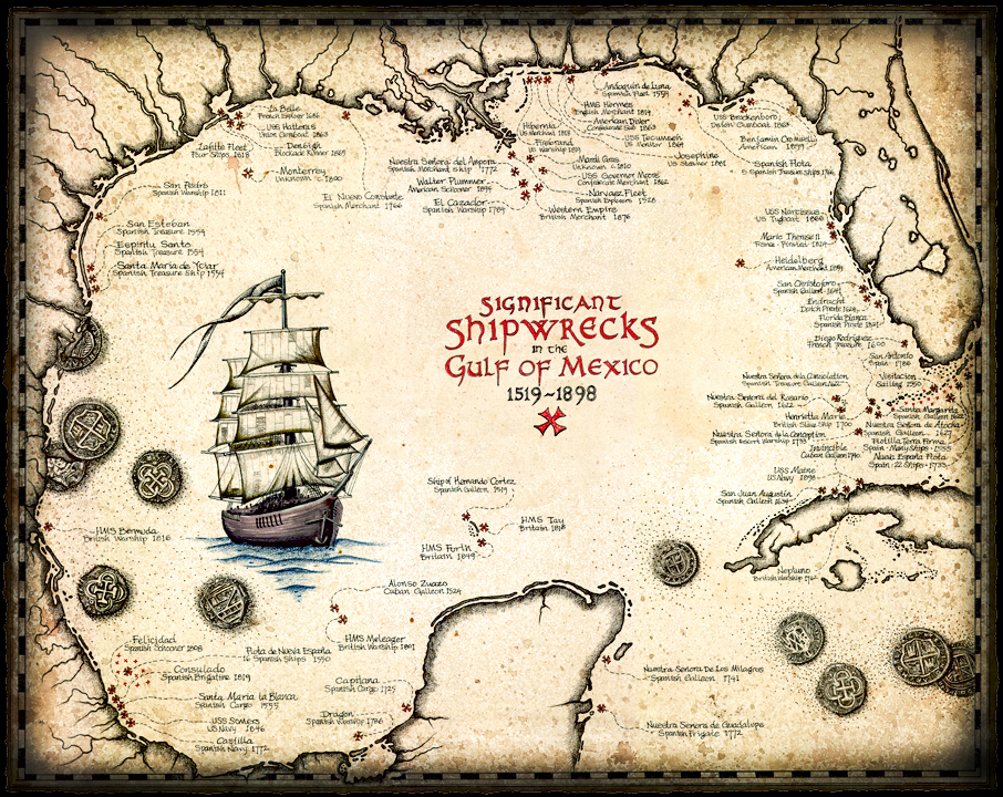 Map of the Significant Shipwrecks in the Gulf of Mexico