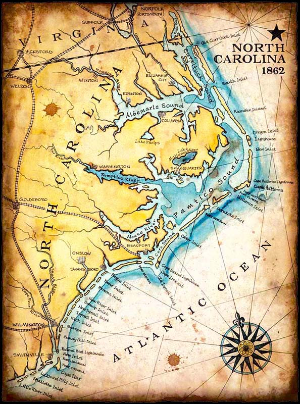 Map of North Carolina and the Atlantic Ocean
