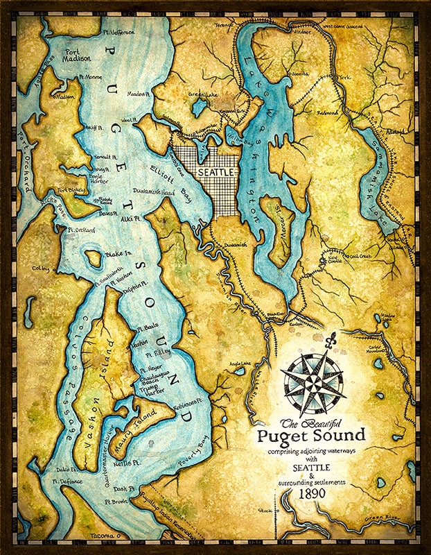 Map of Puget Sound with Seattle and surrounding settlements