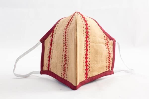 RA Studio Designer Cloth Mask Mangalgiri Mustard With Hints Of Red Embroidery Work